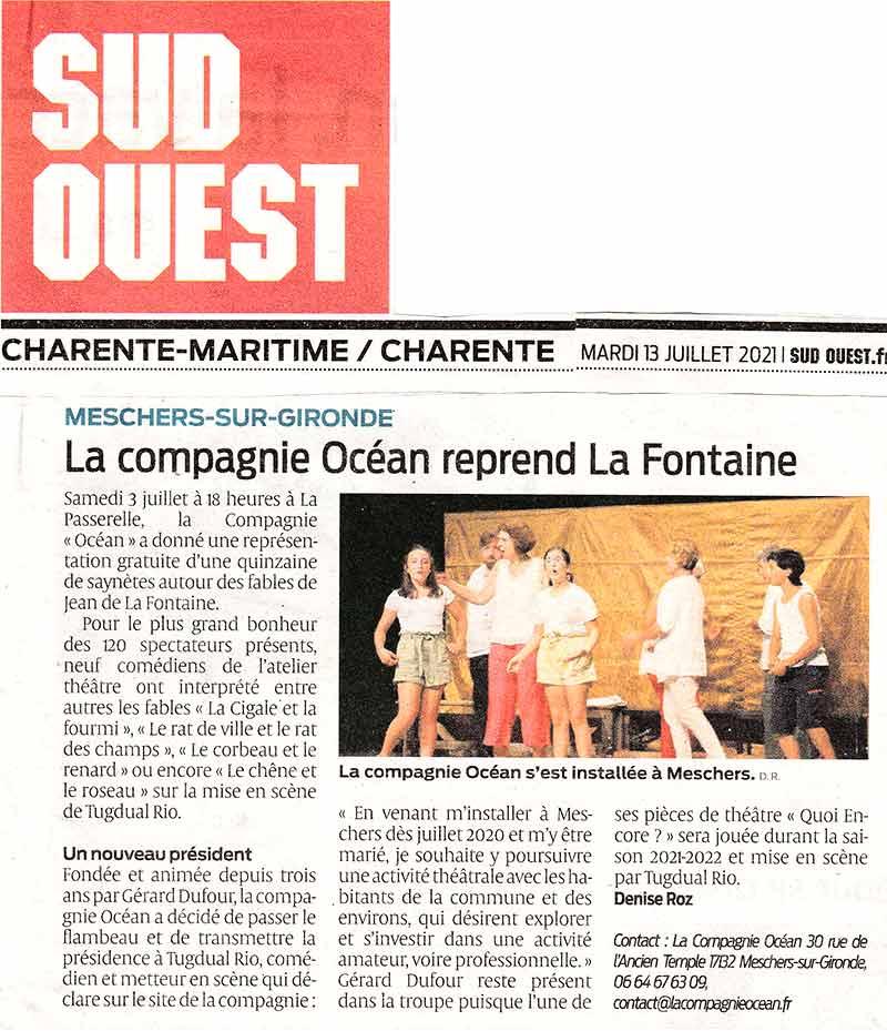 Sud ouest écrit un article sur le spectacle La Fontaine joué par la compagnie Océan